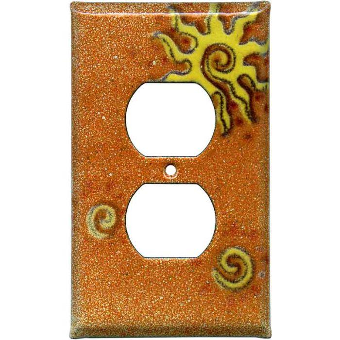 Golden Sunburst 1 - Gang Duplex Outlet Cover Wall Plate