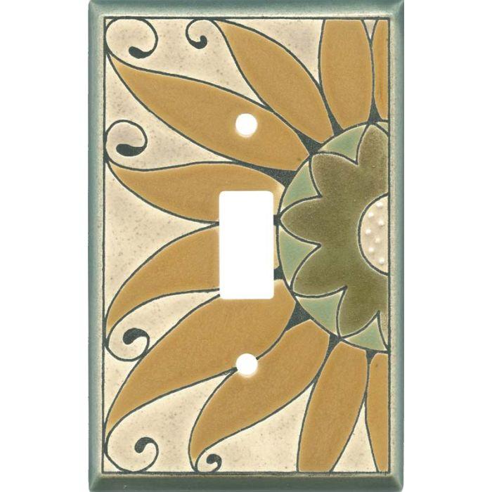 Golden Sunflower Ceramic Single 1 Toggle Light Switch Plates