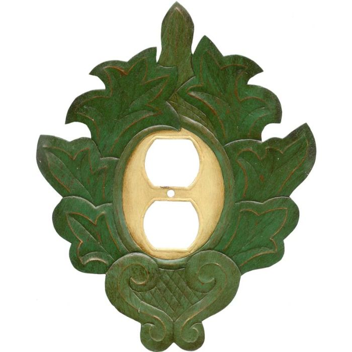 Grecia Green 1 Gang Duplex Outlet Cover Wall Plate