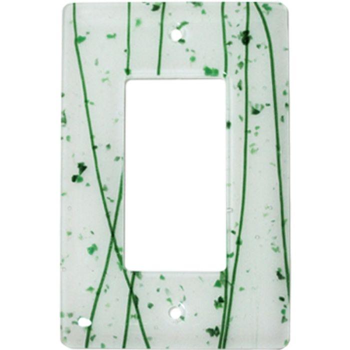 Green Mardi Gras White Glass Single 1 Gang GFCI Rocker Decora Switch Plate Cover