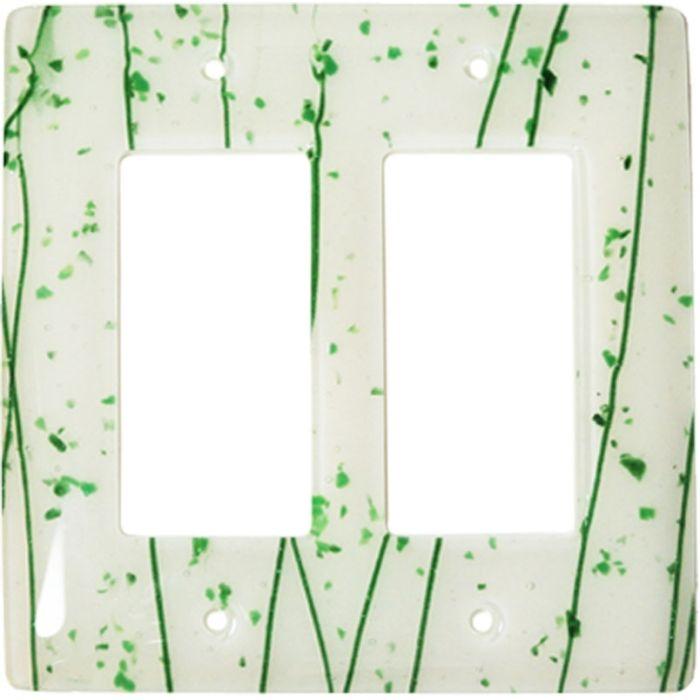 Green Mardi Gras White Glass 2 Gang Double GFCI Rocker Decorator Wallplates