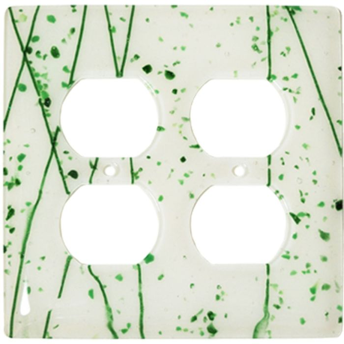 Green Mardi Gras White Glass 2 Gang Duplex Outlet Wall Plate Cover