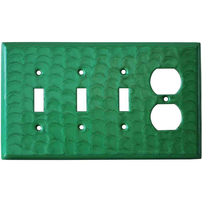 Green Motion Combination Triple 3 Toggle / Outlet Wall Plate Covers