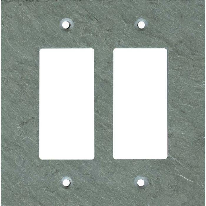 Vermont Green Slate 2 Gang Double GFCI Rocker Decorator Wallplates