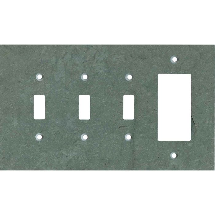 Vermont Green Slate Triple 3 Toggle / 1 Rocker GFCI Switch Covers