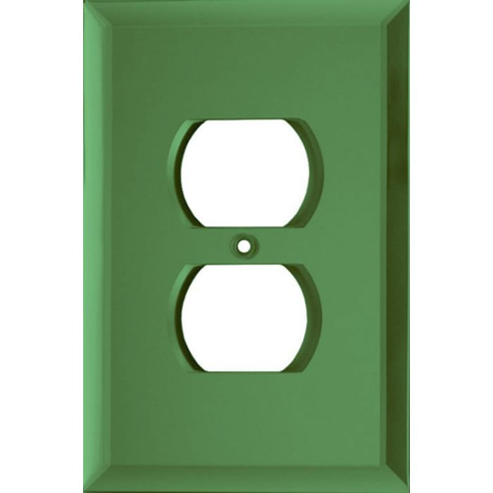 Glass Mirror Green 1 Gang Duplex Outlet Cover Wall Plate