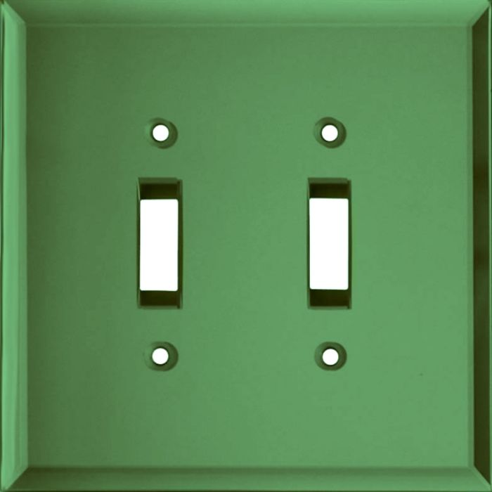 Glass Mirror Green Double 2 Toggle Switch Plate Covers