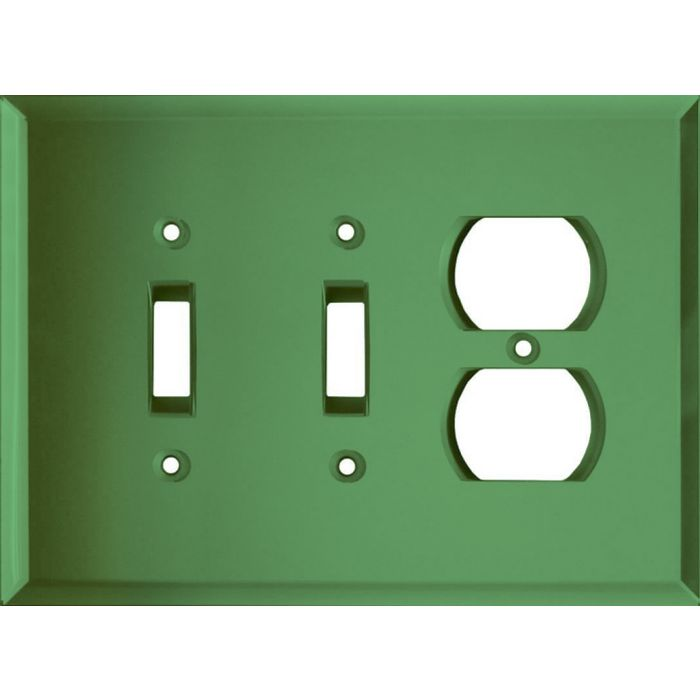 Glass Mirror Green Double 2 Toggle / Outlet Combination Wall Plates