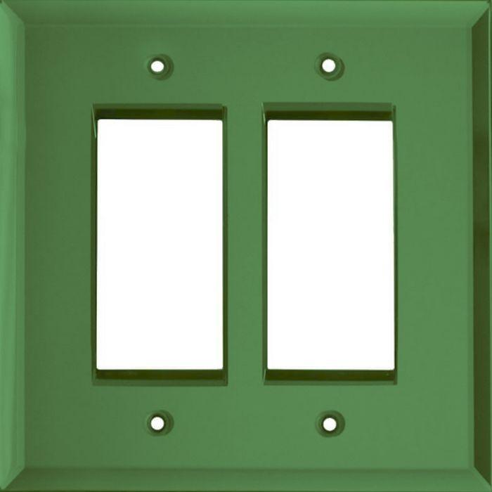 Glass Mirror Green 2 Gang Double GFCI Rocker Decorator Wallplates