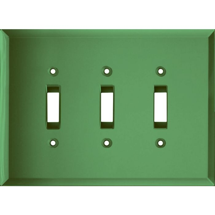 Glass Mirror Green Triple 3 Toggle Light Switch Covers