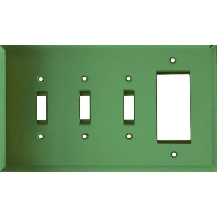 Glass Mirror Green Triple 3 Toggle / 1 Rocker GFCI Switch Covers