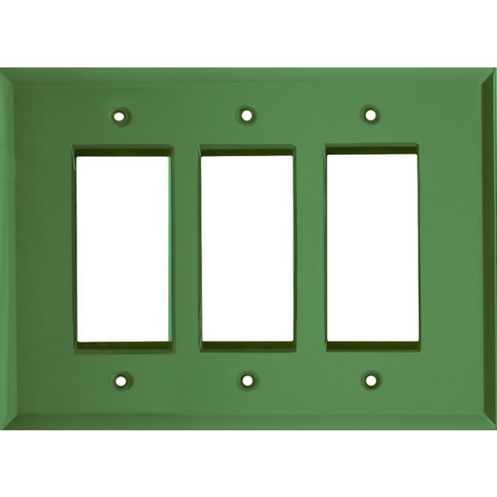Glass Mirror Green Triple 3 Rocker GFCI Decora Light Switch Covers