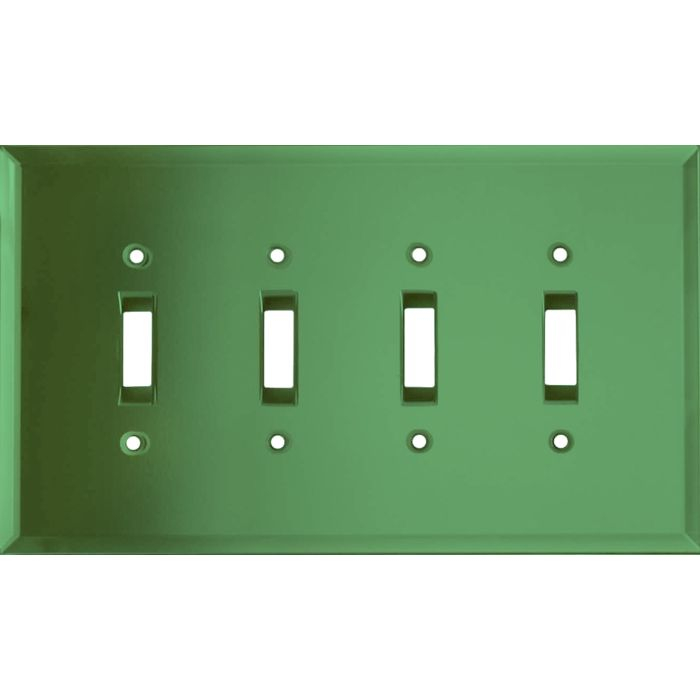 Glass Mirror Green Quad 4 Toggle Light Switch Covers