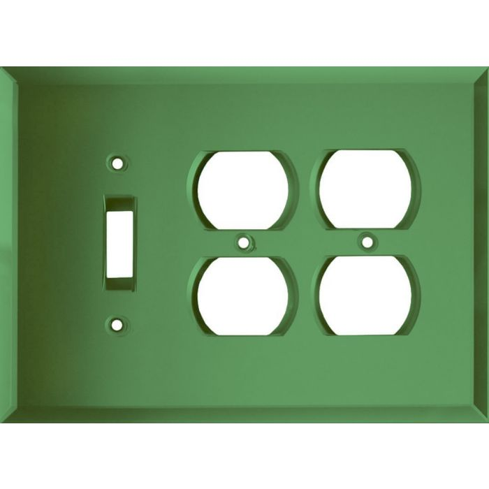 Glass Mirror Green Combintion Single 1 Toggle / Double 2 Outlet Wall Plates