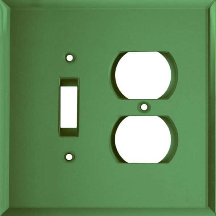 Glass Mirror Green Combination 1 Toggle / Outlet Cover Plates