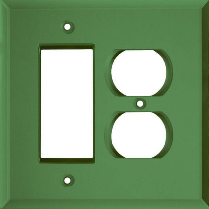 Glass Mirror Green Combination GFCI Rocker / Duplex Outlet Wall Plates