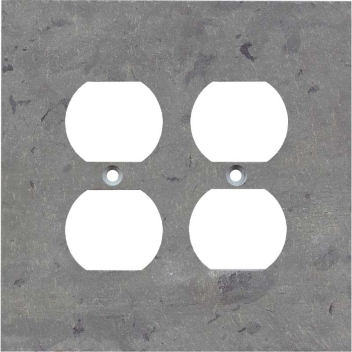 Vermont Grey Slate 2 Gang Duplex Outlet Wall Plate Cover