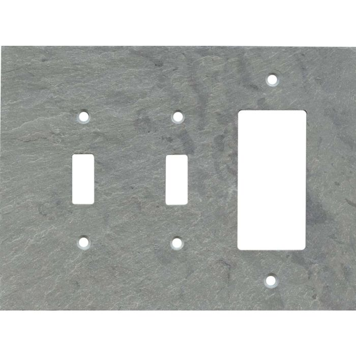 Vermont Grey Slate Double 2 Toggle / 1 GFCI Rocker Combo Switchplates