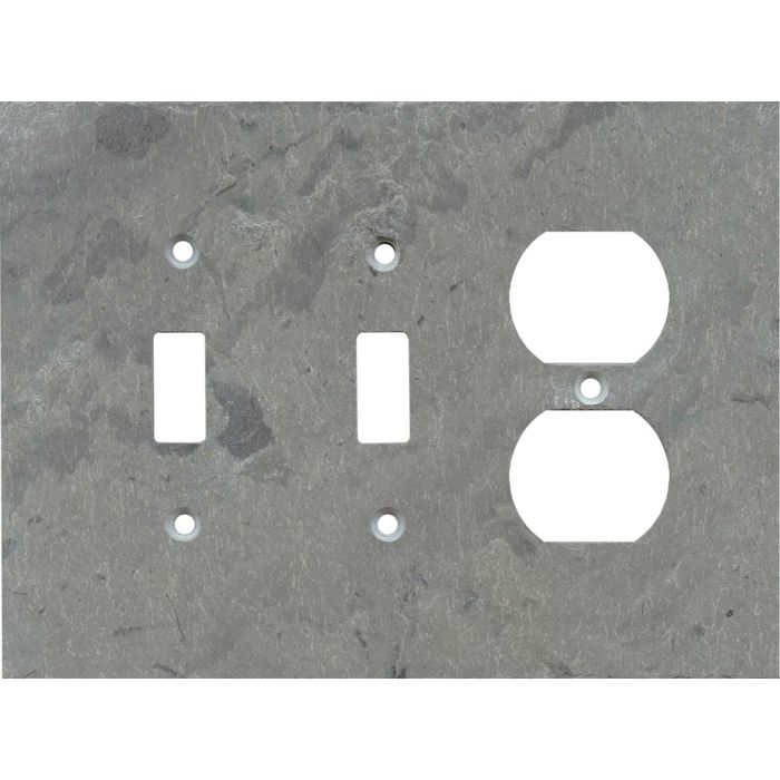 Vermont Grey Slate Double 2 Toggle / Outlet Combination Wall Plates