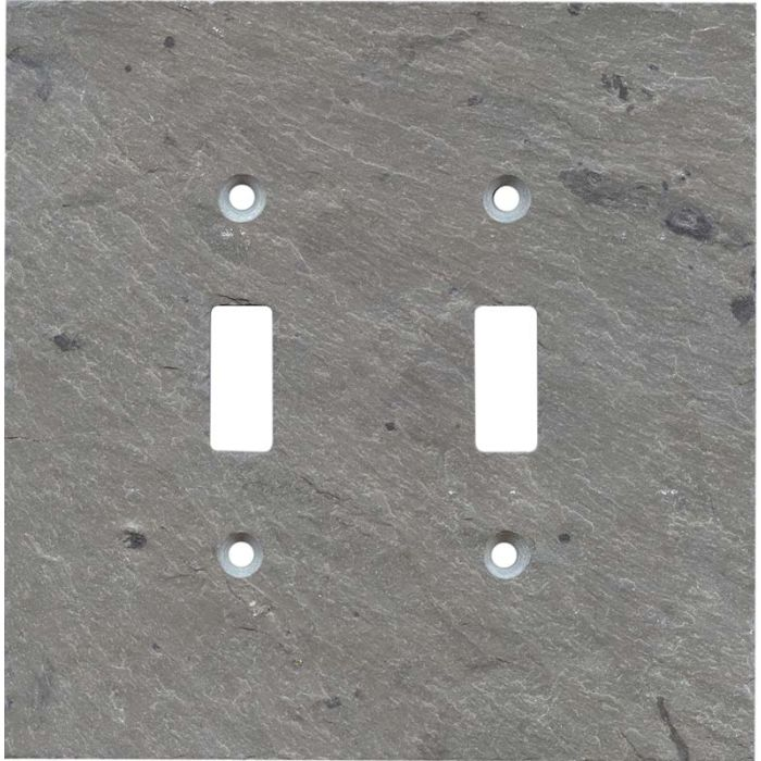 Vermont Grey Slate Double 2 Toggle Switch Plate Covers