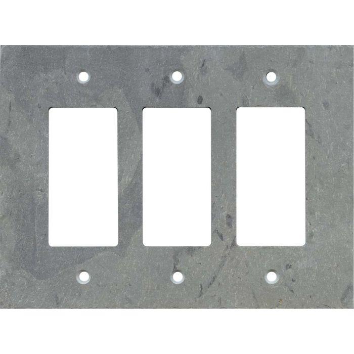 Vermont Grey Slate Triple 3 Rocker GFCI Decora Light Switch Covers