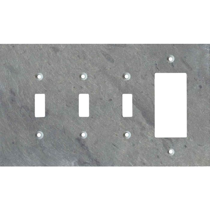 Vermont Grey Slate Triple 3 Toggle / 1 Rocker GFCI Switch Covers