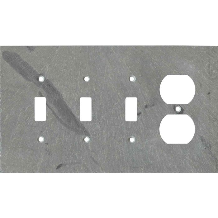 Vermont Grey Slate Combination Triple 3 Toggle / Outlet Wall Plate Covers