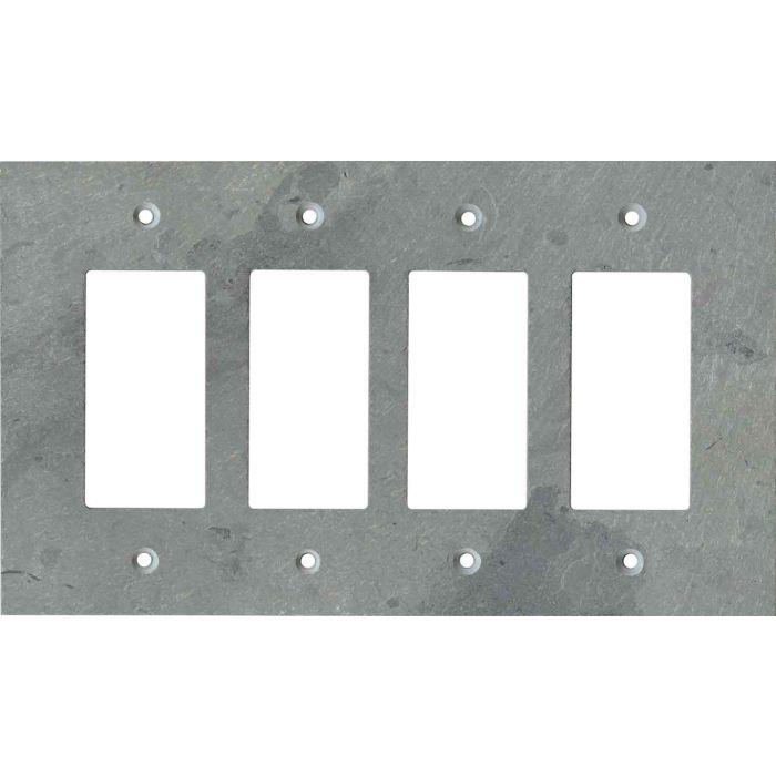 Vermont Grey Slate 4 Rocker GFCI Decorator Switch Plates