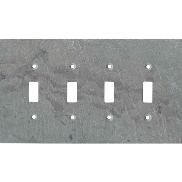 Vermont Grey Slate Quad 4 Toggle Light Switch Covers