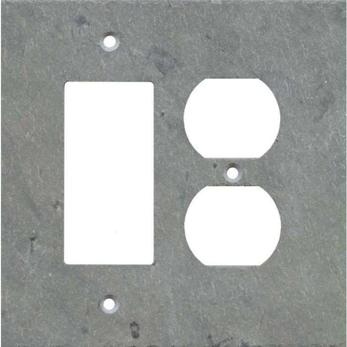 Vermont Grey Slate Combination GFCI Rocker / Duplex Outlet Wall Plates