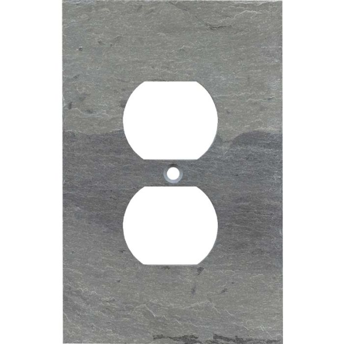 Vermont Grey Slate 1 Gang Duplex Outlet Cover Wall Plate