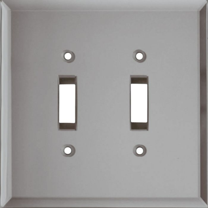 Glass Mirror Grey Tint Double 2 Toggle Switch Plate Covers
