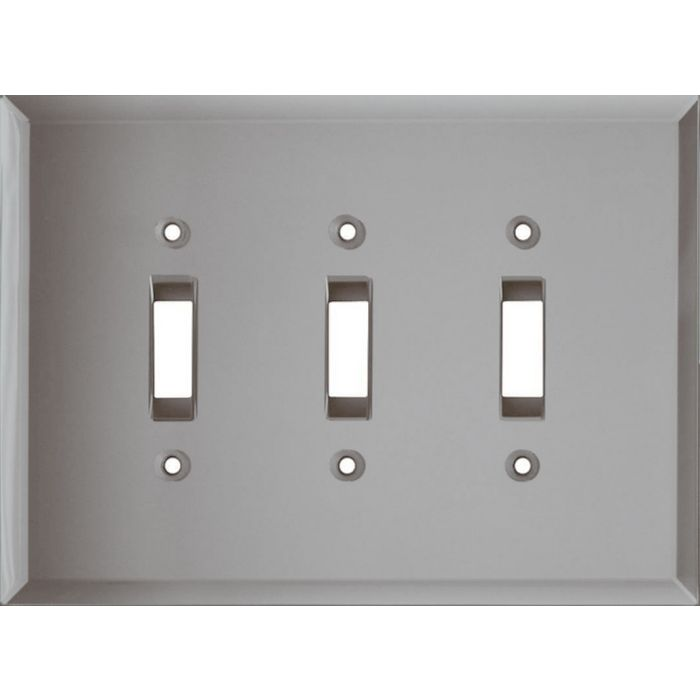 Glass Mirror Grey Tint Triple 3 Toggle Light Switch Covers