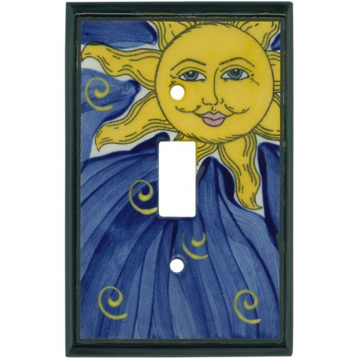 Grinning Sun Ceramic Single 1 Toggle Light Switch Plates