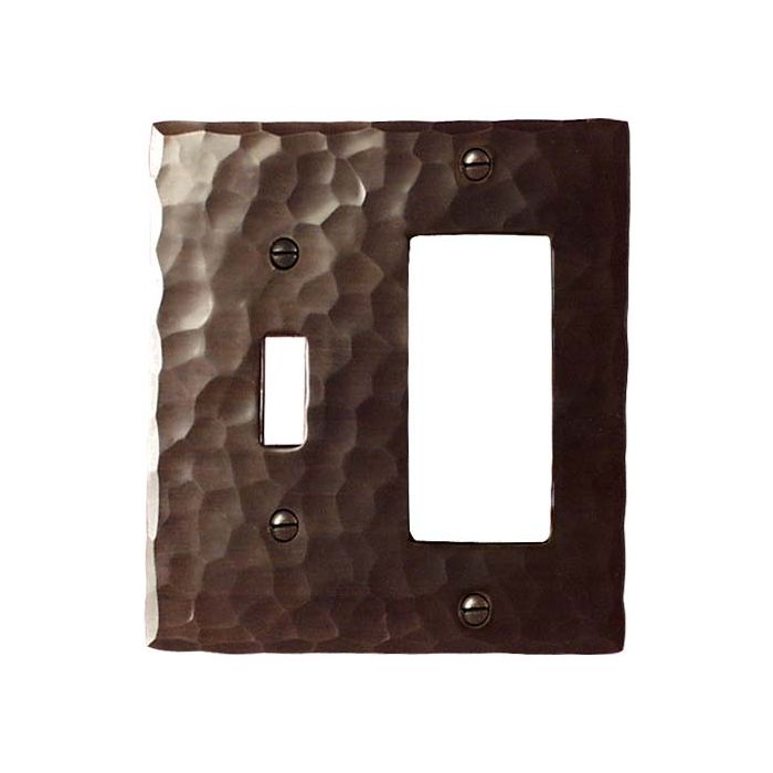 Hammered Combination 1 Toggle / Rocker GFCI Switch Covers