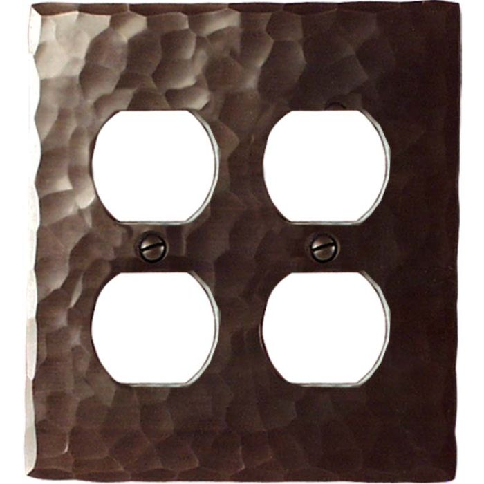 Hammered 2 Gang Duplex Outlet Wall Plate Cover