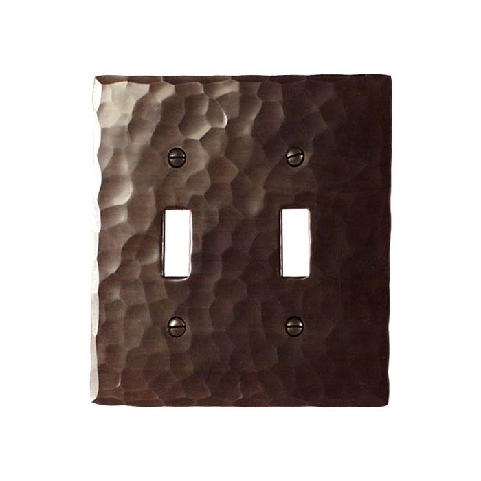 Hammered Double 2 Toggle Switch Plate Covers