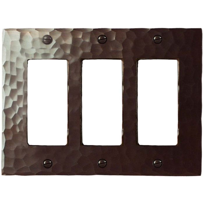 Hammered Triple 3 Rocker GFCI Decora Light Switch Covers