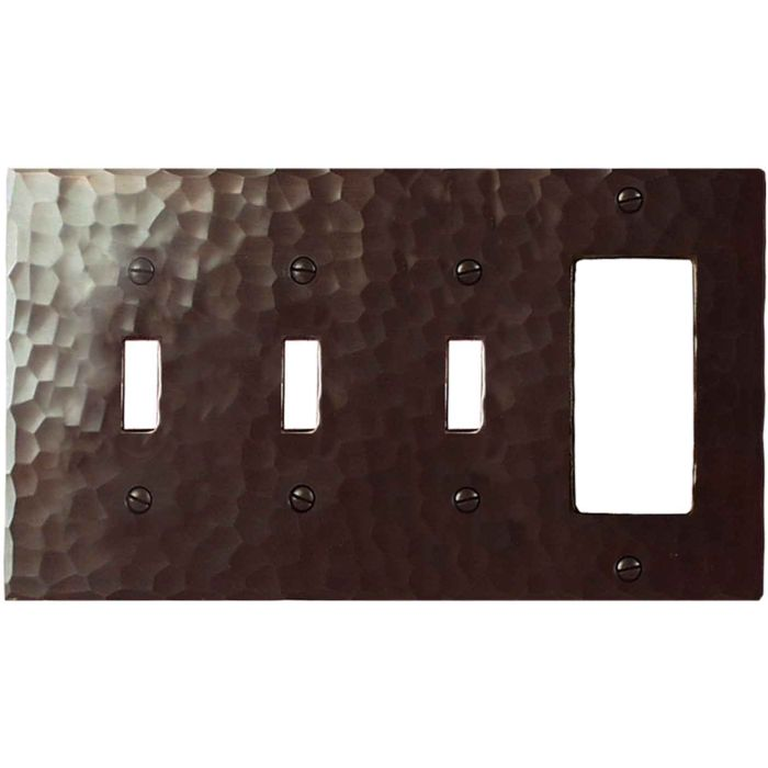 Hammered Triple 3 Toggle / 1 Rocker GFCI Switch Covers