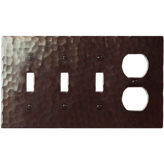 Hammered Combination Triple 3 Toggle / Outlet Wall Plate Covers
