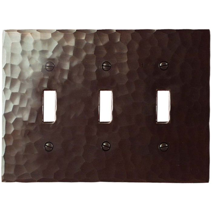 Hammered Triple 3 Toggle Light Switch Covers