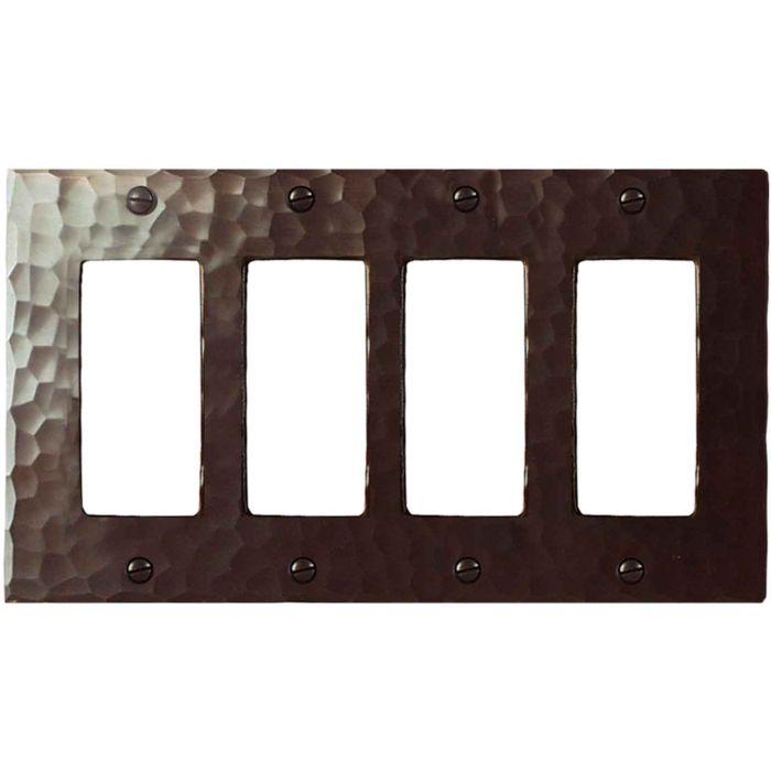 Hammered 4 Rocker GFCI Decorator Switch Plates