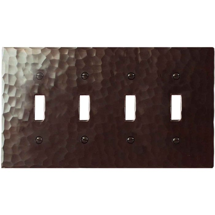 Hammered Quad 4 Toggle Light Switch Covers