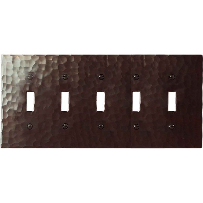 Hammered 5 Toggle Wall Switch Plates