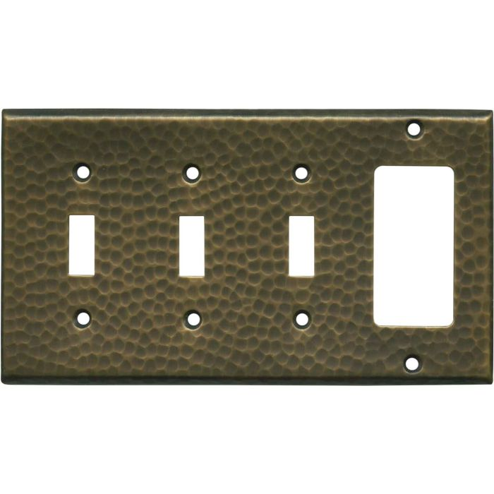 Hammered Antique Brass Triple 3 Toggle / 1 Rocker GFCI Switch Covers