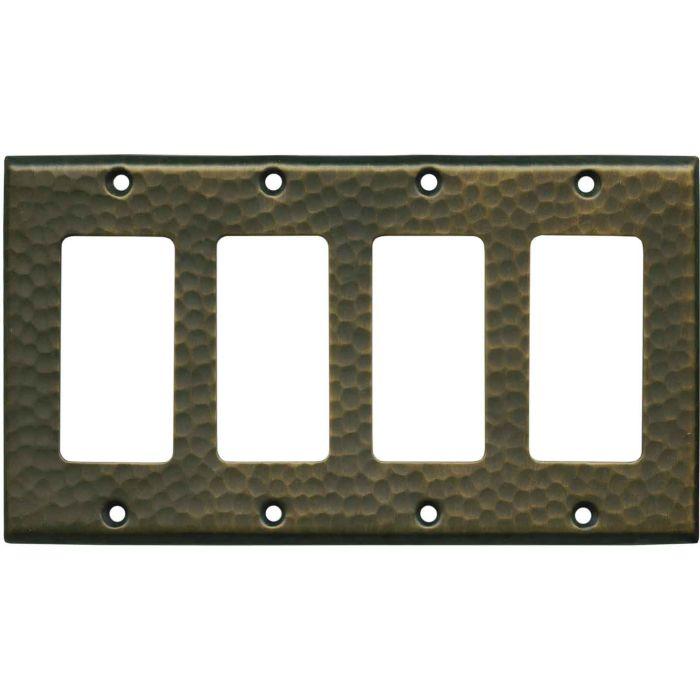 Hammered Antique Brass - 4 Rocker GFCI Decora Switch Plates