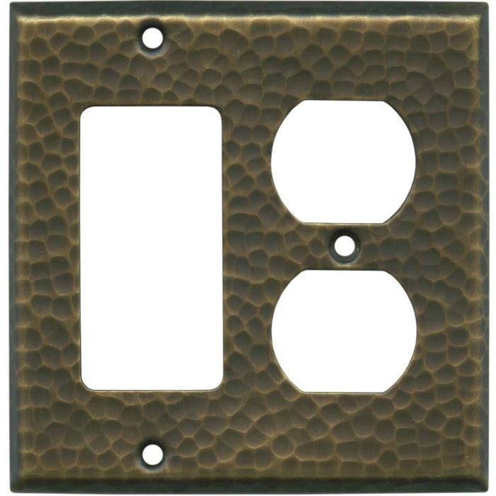 Hammered Antique Brass - GFCI Rocker/Duplex Outlet Wall Plates