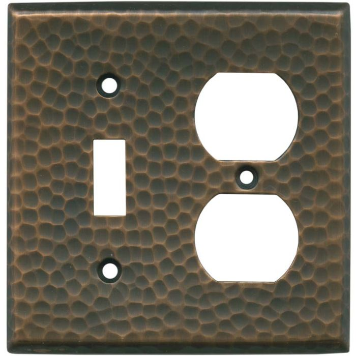 Hammered Antique Copper - Combination 1 Toggle/Outlet Cover Plates