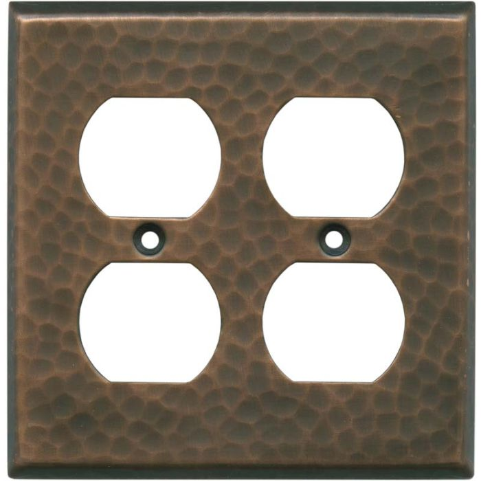 Hammered Antique Copper - 2 Gang Electrical Outlet Covers