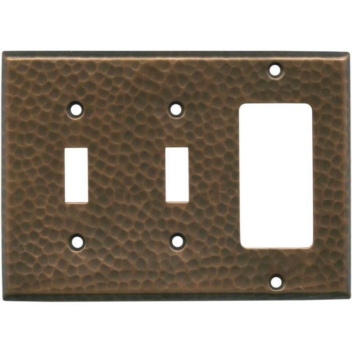 Hammered Antique Copper - 2 Toggle/1 GFCI Rocker Switchplates